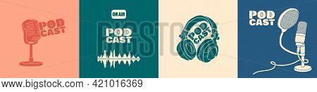 A Set Of Covers For A Podcast Or Broadcast Show. Vector Trendy Flat Illustration In Pastel Colors. E