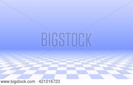 Abstract Checkered Floor In Blue Surreal Interior. Room With No Horizon And Tiled Floor.