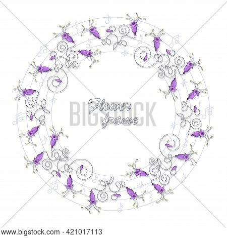 Musical Bells. Campanula Bell. Vector Flowers Frame, Border. Purple Campanula Bells On The Stem With