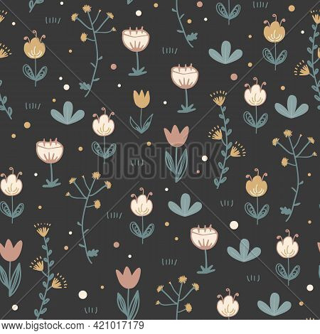 Doodle Floral Seamless Pattern. Scandinavian Style Print With Cute Flowers On Dark Background. Trend