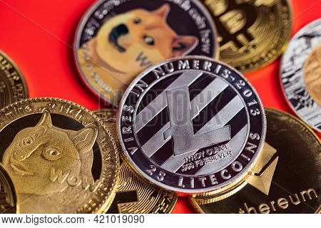 Dogecoin Doge Group Included With Cryptocurrency Coin Bitcoin, Ethereum Eth, Silver Litecoin Ltc, Sy