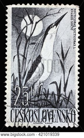 ZAGREB, CROATIA - SEPTEMBER 18, 2014: Stamp printed in Czechoslovakia shows Black-crowned Night Heron (Nycticorax nycticorax), circa 1960