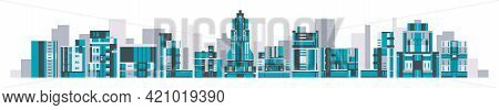 Cityscape Of Glass Buildings, Residential Buildings, Skyscrapers, Hotels. Urban Environment Set. Vec
