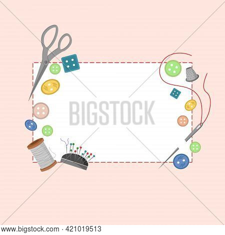 Postcard Template With Sewing Tool Kits. Buttons, Spool Of Thread, Needle, Pin Cushion. Vector Illus