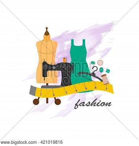 Mannequin With Fashionable Dress, Sewing Machine And Tailor Tools. Card Template For Use In The Fash