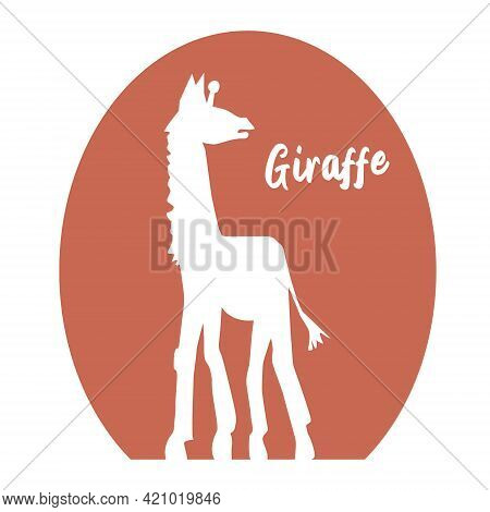 White Silhouette Of A Giraffe, Side View. The Tallest Animal. Vector Illustration.