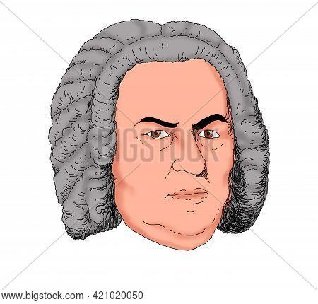 Realistic Illustration Of The Composer Johann Sebastian Bach