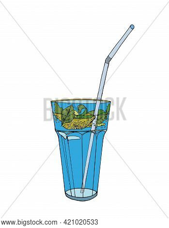 One Blue Cocktail With Mint And Lime In A Glass On A White Background. A Refreshing Summer Drink. Ve