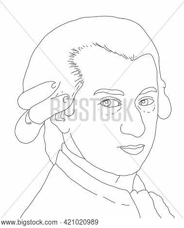 Realistic Illustration Of The Austrian Composer Wolfgang Amadeus Mozart
