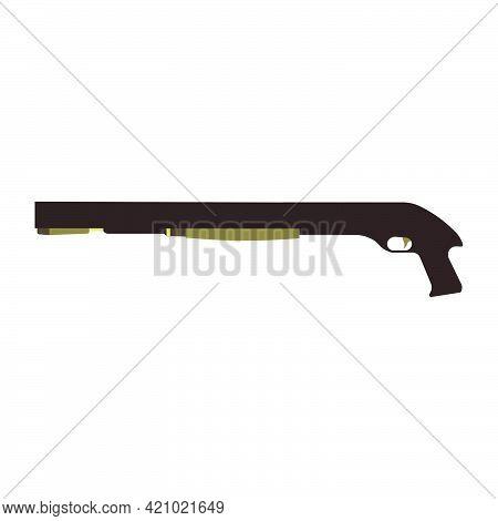 Shotgun Gun Vector Illustration Rifle Military. Isolated White Shotgun Weapon Hunting Icon Power Sym