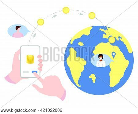 Vector Illustration Hands Hold Cell Phone Mobile Money Transfer Online Around The World Financial Op