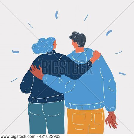 Vector Illustration Of Sweet Partners Hold Each Others In Hands Back View. Man And Woman Love Each O
