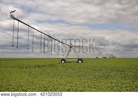 Agriculture: Crop Irrigation. Automated Farming Irrigation System On Background Of Cloudy Sky.