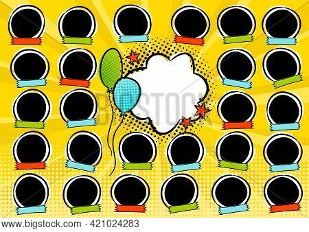 Photo Frame For Group Photos Of Children In Pop Art Style. A Photo Album For A Graduating Class Or C