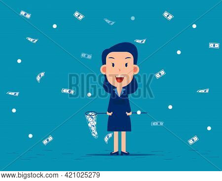 Catch Moneys. Business Financial And Currency Concept