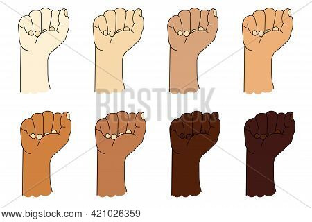 Collection Of Human Ethnic Hands With Different Skin Color. Hand Gesture. Raised Fist Or Clenched Fi