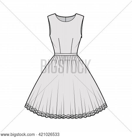 Dress Tutu Technical Fashion Illustration With Sleeveless, Fitted Body, Knee Length Circular Skirt.
