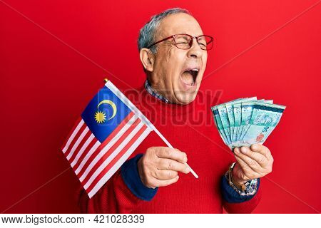 Handsome senior man with grey hair holding malaysia flag and malaysian ringgit banknotes angry and mad screaming frustrated and furious, shouting with anger. rage and aggressive concept.