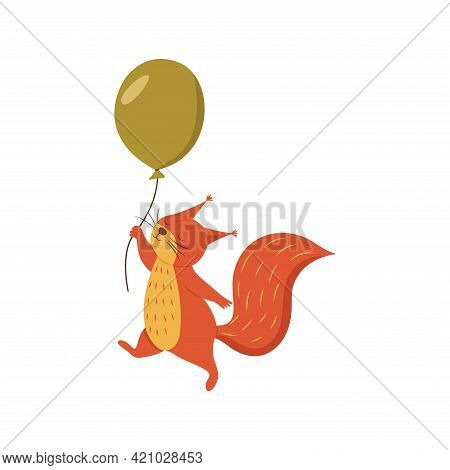 Cute Squirrel Flies Holding On To A String From A Balloon. Colorful Vector Isolated Illustration Car