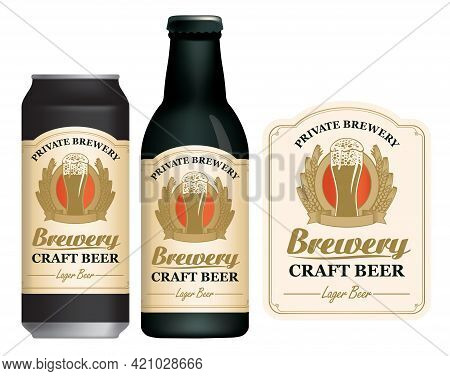 A Craft Beer Label, Decorated With Ears Of Wheat Or Barley And An Overflowing Glass Of Frothy Beer O