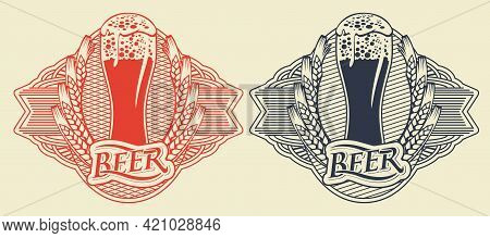 Set Of Red And Black Beer Labels With Overflowing Glass Of Frothy Beer, Ears Of Wheat In Ornate Fram