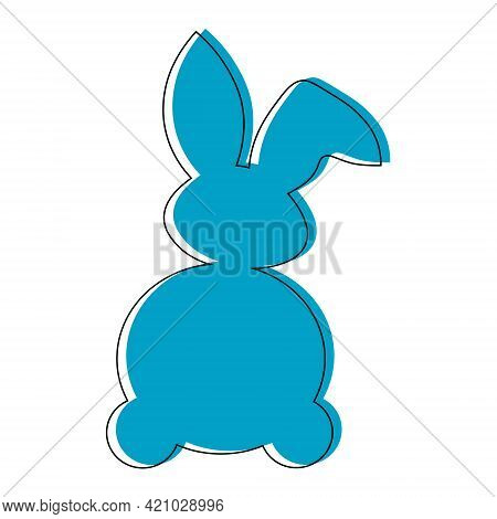 Rabbit Blu  Outline.children's Picture On Clothes.easter Bunny Vector Illustration Isolated On A Whi