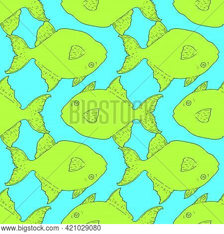 Greg Triggerfish. Fish Set Sketch In Cartoon Style On White Background. Vector Seamless Pattern Of F