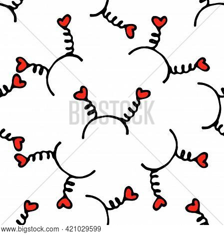 Vector Seamless Pattern Of A Hair Band Decorated With Red Hearts On Springs. Hand-drawn Doodle Style