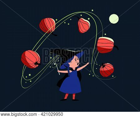 Little Cute Witch Conjures Over Pumpkins With A Magic Wand. The Girl Is Wearing A Halloween Costume,