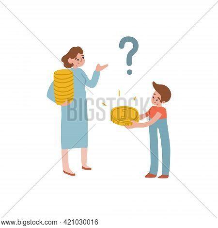 Mom Thinks Much Karmannyhdeneg Give A Child. Financial Literacy, Childrens Budget, Pocket Money. Vec