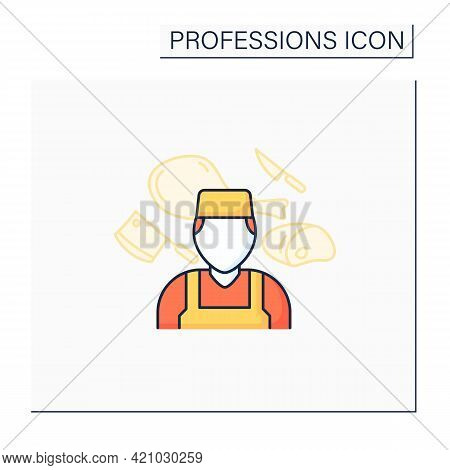 Butcher Color Icon. Man Works With Meat. Slaughter Animals, Dress Flesh, Sell Meat. Important Job. S
