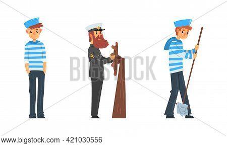 Set Of Sailors And Captain, Seaman Characters In Uniform, Ship Crew Members Cartoon Vector Illustrat