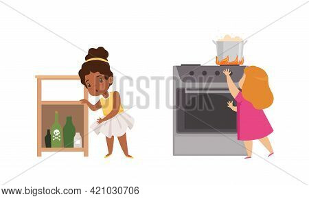 Kids In Dangerous Situations Set, Girl Reaching For Hazardous Substances And Hot Saucepan Cartoon Ve