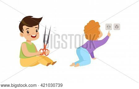 Kids In Dangerous Situations Set, Boy Playing Scissors, Toddler Baby Touching Electrical Socket Cart