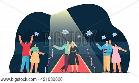 Celebrity Couple Walking Red Carpet. Flat Vector Illustration. Young Movie Stars On Red Carpet With