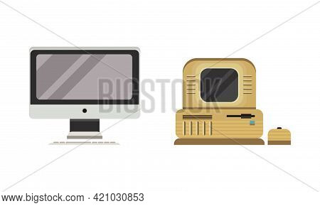 Set Of Old Fashioned Personal Computers, Retro Office Workspace Devices Flat Vector Illustration