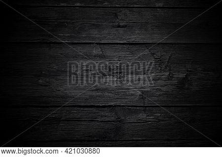 Black Background. Vintage Wood Background In Black Color With Vignette. Old Wood Texture With Cracks