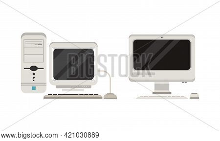 Set Of Old Fashioned Personal Computers, Retro Office Workspace Devices, Pc Monitor With Keyboard An