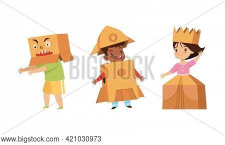 Cute Little Kids Playing Cardboard Boxes Set, Little Children Playing Astronaut And Princess Cartoon