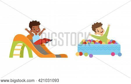 Kids Having Fun On Playground Set, Little Children Sliding Down Slide And Playing In Pool With Color