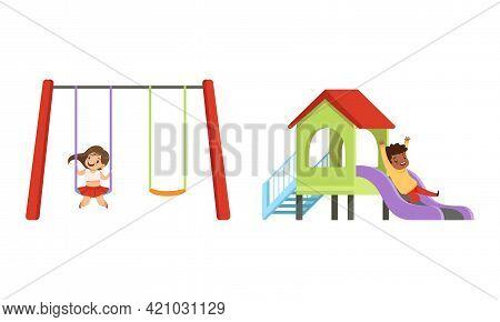 Kids Having Fun On Playground Set, Little Children Swinging On Swing And Sliding Down Slide Cartoon
