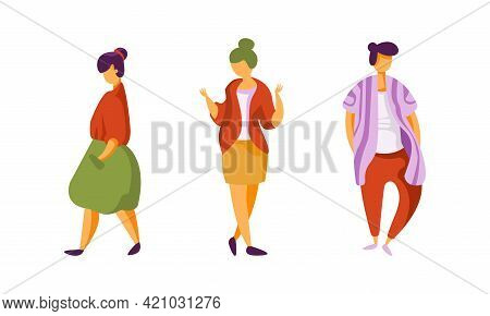 Set Of Young People Wearing Fashionable Clothes, Persons Dressed Trendy Stylish Clothing Cartoon Vec