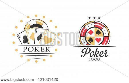 Poker Logo Design Templates Set, Gambling, Poker Club Badges And Labels Vector Illustration