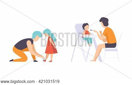 Dads Taking Care Of Their Children Set, Father Feeding Baby Sitting In Highchair And Helping Daughte