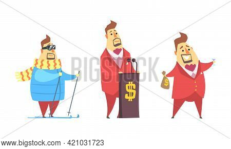 Funny Rich Millionaire Set, Fat Businessman Character Giving Speech And Skiing Cartoon Vector Illust