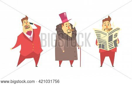 Funny Rich Millionaire Set, Fat Businessman Character Reading Newspaper And Talking On Phone Cartoon