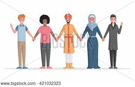 Group Of Multiethnic People Vector Flat Illustration. Diverse People Standing Together. Internationa