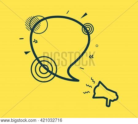 Speech Bubble And Megaphone With Abstract Geometric Shapes. Outline Bullhorn Sticker And Black Frame