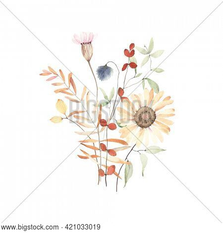 Watercolor floral print with wildflowers, branches and leaves in herbarium style. Dry flowers and plants isolated on white background, ikebana hand painting image, bouquet in pastel colors.
