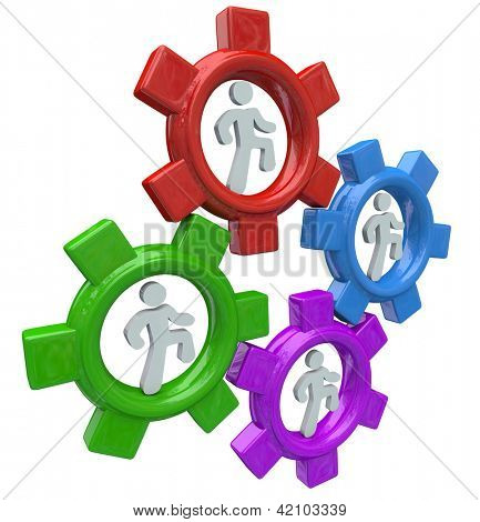 Four people run in colorful gear wheels to symbolize collaboration and teamwork in working together toward a common goal